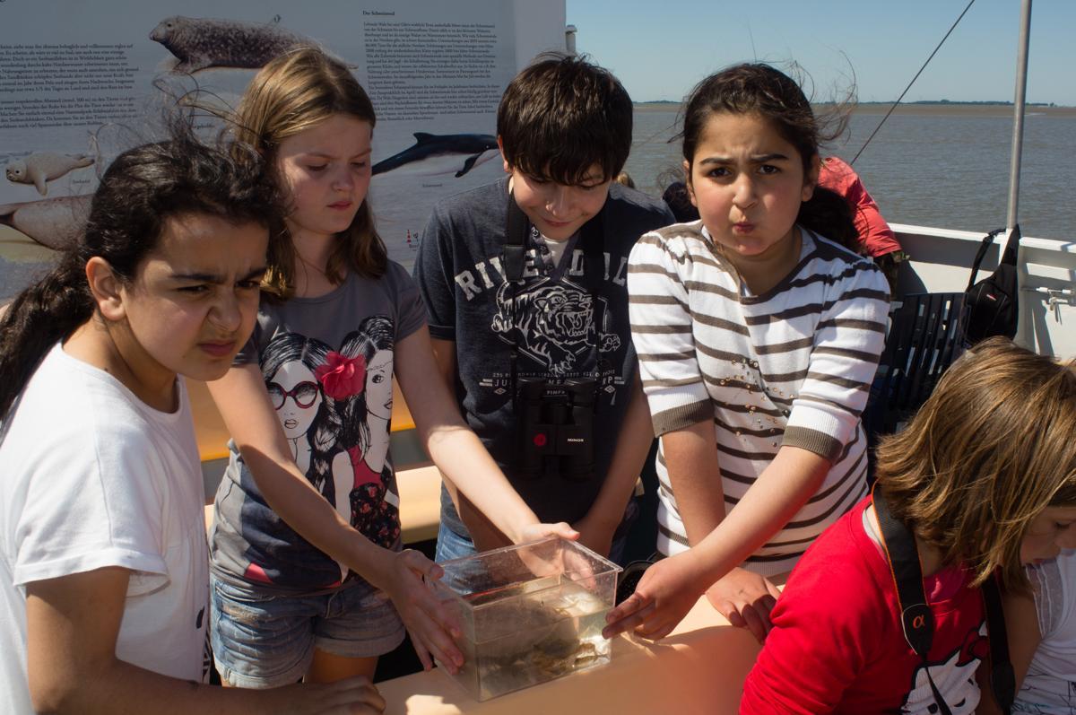 Kinder mit einem der Aquarien, in denen der Fang untersucht werden konnte